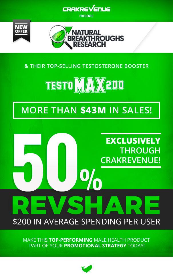Natural Breakthroughs Research TestoMAX200 top performing adult affiliate program